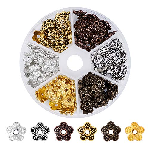 - Beadthoven 1-Box 5-Petal Flower Bead Caps 6-Color Tibetan Style Alloy Bead Caps Jewelry Making Accessory for Bracelets Necklaces Earrings Crafting DIY