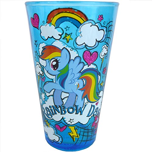 Silver Buffalo MLP88031PG Hasbro My Little Pony Rainbow Dash Glitter Pint Glass, (Rainbow Dash Glasses)