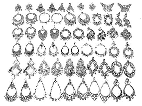 - Kinteshun Filigree Chandelier Earring Loops Connectors Eardrop Necklace Linker Dangling Charm Pendant Connector for DIY Jewelry Making Accessaries(30pairs,Antique Silver Tone)