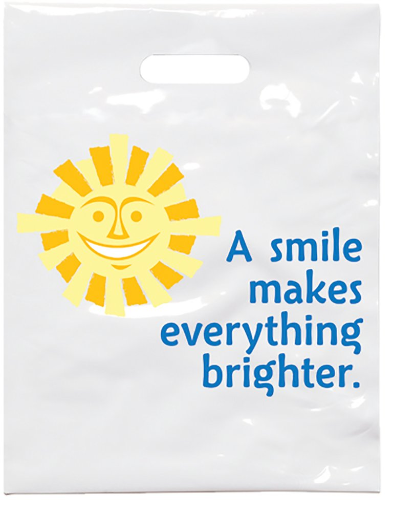 Practicon 1109617 Sunshine Smile Patient Care Bags, 9'' x 12'' (Pack of 100)