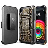 LG X Power Case, LG XPower Holster Case with FREE [Tempered Glass Screen Protector], NageBee [Heavy Duty] Armor Shock Proof [Swivel Belt Clip] Holster [Kickstand] Combo Rugged Case for LG K6P -Camo