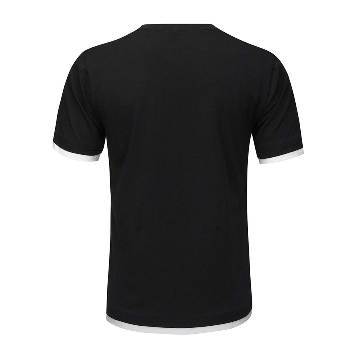 Thenxin Mens Casual T Shirt Crewneck Short-Sleeve Solid Color Standard-fit Tee