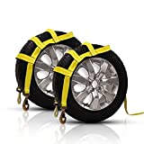 COOCHEER 2 Pack Essential Vehicle Tow Dolly Strap Harness (2200 lbs Working Capacity) - Universal Tow Dolly Straps System & Flat Hook Design (Yellow)