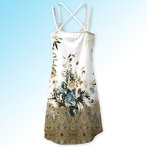 Todaies Women Summer Floral Print Dress, Vintage Sleeveless 3D Bohe Tank Short Mini Dress (2XL, White 1) by Todaies (Image #5)
