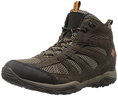 Columbia Men's North Plains Drifter Mid Waterproof Hiking Boot, Mud, Bright Copper, 11 D US - Leather Mid Waterproof Boot