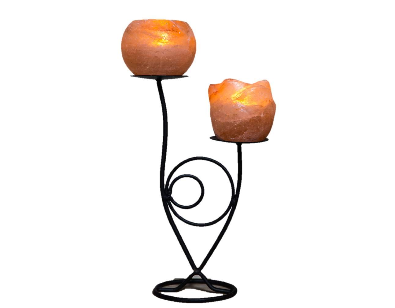 Crafted Wrought Iron Statuette Himalayan Ionising Rock Salt Tealight Candle Holder (Double Flower) Made To Inspire ltd