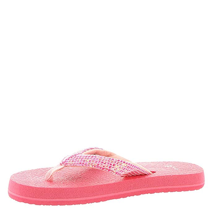 Sanuk Kids Girls Yoga Glitter Flip-Flop, Paradise Pink-with ...