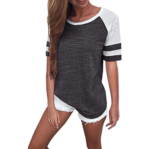 CUCUHAM Fashion Women Ladies Short Sleeve Splice Blouse Tops Clothes T Shirt(Small,Dark Gray)