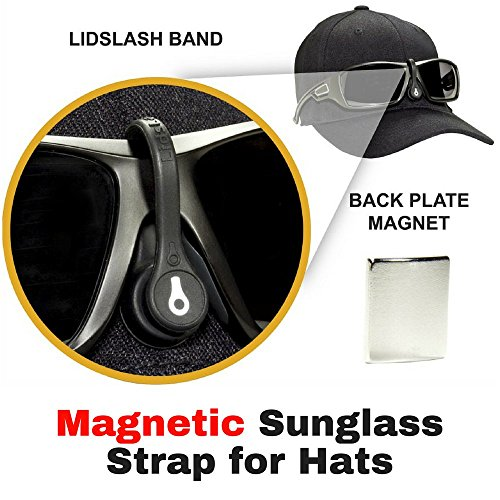 LidsLash+Magnetic+Sunglass+Strap+Eyewear+Retainer+for+hats+-+Glasses+strap+is+perfect+for+hunting%2C+fishing%2C+golf%2C+or+any+outdoors+activity.+Keep+sunglasses+High+and+Tight+on+any+hat+brim+-+BLK+%2F+WHT