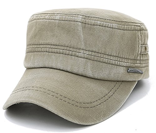 (ChezAbbey Men's Distressed Solid Brim Flat Top Cap Washed Cotton Cadet Style Hat Casual Peaked Cap)