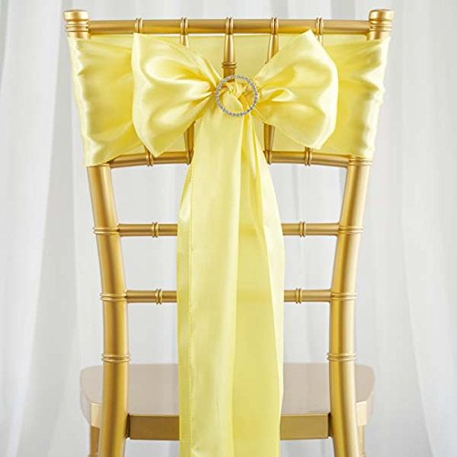 Efavormart 25pcs Yellow Satin Chair Sashes Tie Bows for Wedding Events Decor Chair Bow Sash Party Decoration Supplies 6 x 106