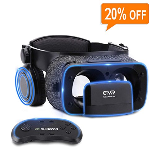 Ultralight Virtual Reality Headset with Stereo Headphones, 3D VR Glasses for VR games & 3D Movies, Comfortable & Immersive Experience VR Goggles for 4.7 - 6 inch IOS/Android Smartphones by geek-2016