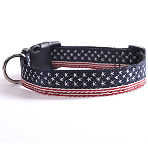 NACOCO American Flag Dog Collar with Stars and Striped for Dog