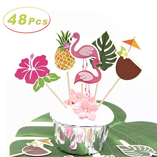 - 48 Pcs Cupcake Toppers Baking Cake Decoration for Hawaiian Luau Summer Flamingo birthday Parties, Hibiscus Flowers, Palm Leaves, coconut, Flamingo