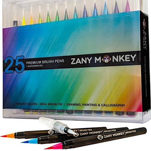 Watercolor Brush Pens - Set of 25 Water Color Brush Tip Markers for Kids & Adult Coloring Books, Painting, Drawing, Art, Calligraphy, Lettering, Journaling. Bonus Coloring Book & Water Blending Pen.