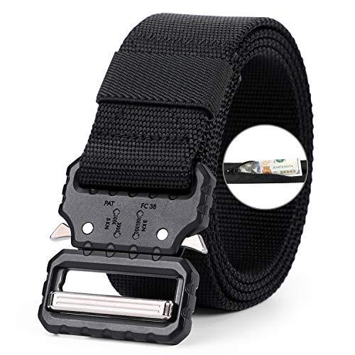 [해외]WERFORU 전술 벨트 밀리터리 스타일 웨빙 리저스 나일론 벨트 헤비 듀티 퀵 릴리스 메탈 버클 3.8cm 너비 / WERFORU Tactical Money Belt with Zipper Pocket, Heavy-Duty Buckle Military Belt,Black,Waist Size 37-41 Inches