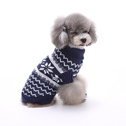 Awtang Cold Day Pets Doggie Clothes White Snowflake Pattern Dog Knit Sweater Puppy Jamper Coat (Snow White Dog Costume)
