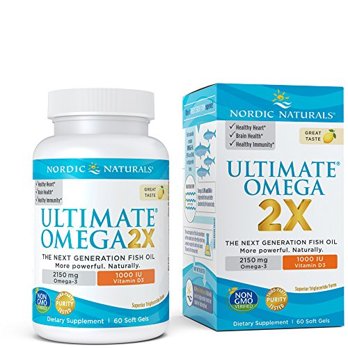 - Ultimate Omega 2X Vitamin D3 - Nordic Naturals Supplement with 2150 mg Omega-3s and 1000 IU of Vitamin D, Support for Heart, Brain, Immune and Bone Health, 60 Soft Gels