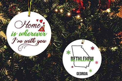 FamilyGift Christmas Home Ornament Home is Wherever I'm with You Bethlehem Georgia - Set of 2 Ceramic Ornaments Tree White -