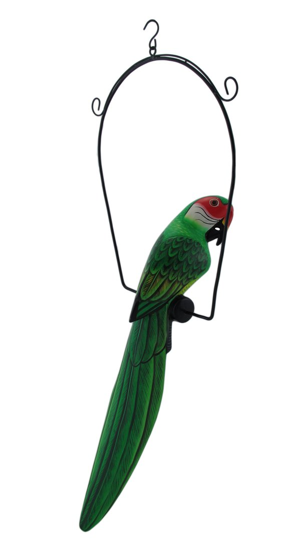 Hand Painted Wood Green Parrot Bird Hanging Statue 23 Inch
