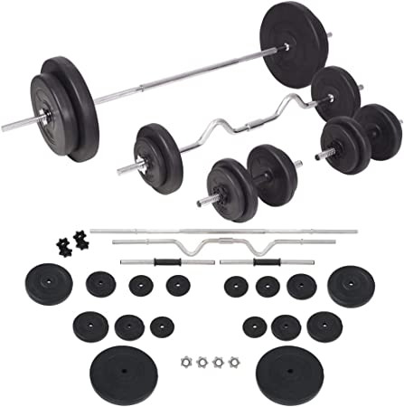 vidaXL Barbell and Dumbbell Set 30kg Free Weight Plate Disc Training Lifting