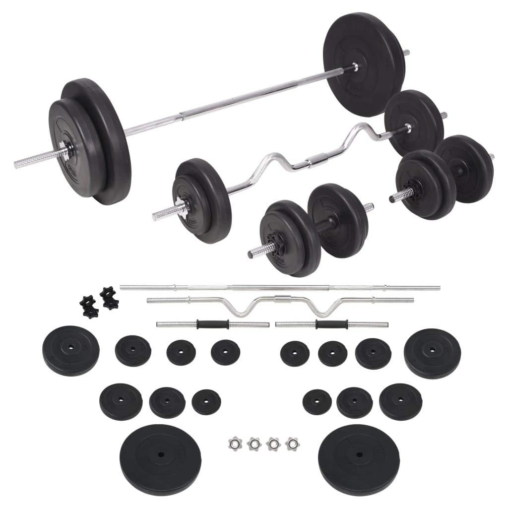 vidaXL Juego de Pesas 90kg Barra y Mancuernas Fitness Musculación ...
