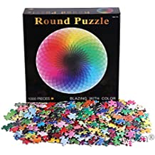 1000 Pcs Round Jigsaw Puzzles,Gloween Rainbow Palette Jigsaw Puzzle, Intellectual Game for Adults and Kids, Learning and Education Toys