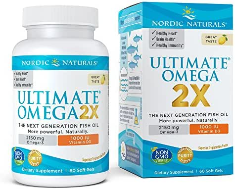 Nordic Naturals Ultimate Omega 2X with Vitamin D3, Soft gels, 2150 Mg, 60 Ct