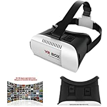 XFUNY® 3D VR-BOX Glasses, Virtual Reality VR Headset Head Mount Display 3D Video Movie Game Glasses Adjust Cardboard VR-BOX for 3.5-6 Inch Smartphone, iPhone 6/6 Plus, Samsung Galaxy S6 Edge, LG, HTC, Nexus, IOS Android Cellphone