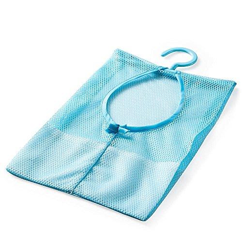 HuntGold Semi-closed Hanging Mesh Holder Clothespin Basket Bag Kitchen Bathroom Storage Organizier Blue