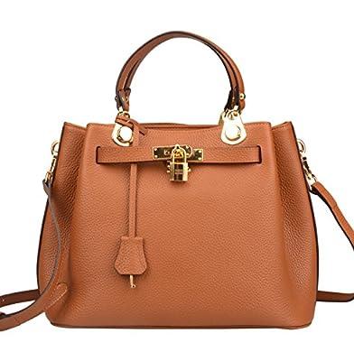Ainifeel Women's Padlock Handbags Bucket Shoulder Handbags Purse Crossbody Bag