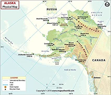 Amazon.com : Alaska Physical Map (36\