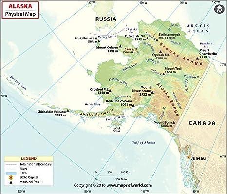 Amazon.com : Alaska Physical Map (36\