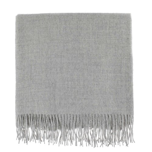 Alpaca Baby Blanket - URBANARA 100% Peruvian Baby Alpaca Wool Blanket Arica 51x73 Light Grey - Simple Block Color with an Elegant Fringe - Throw for Sofa, Couch, Bed, Chair - as Soft as Cashmere