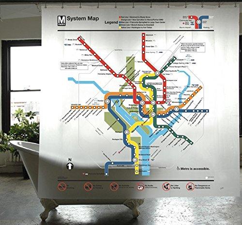 Izola PEVA Water and Mold Resistant Shower Curtain - Washington DC Map - John Ellis Water