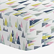 Carousel Designs Pink Mountains Crib Sheet - Organic 100% Cotton Fitted Crib Sheet - Made in The USA
