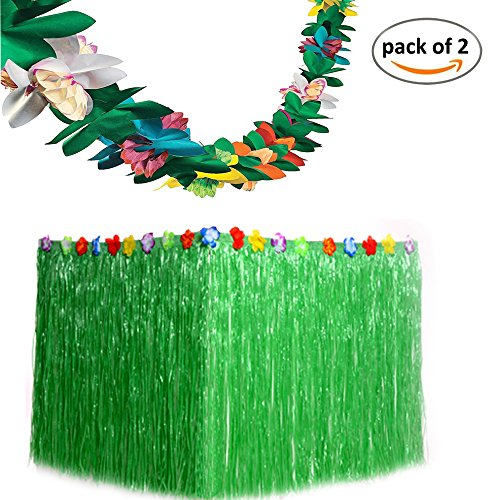 Paper Skirt (Funnlot Tropical Grass Table Skirts Green with Tissue Flower Luau Hawaiian Party Decorations Supplies Favors (9ft29in))