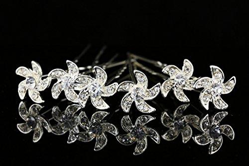 Crystal Clear Pinwheel - Set of 6 Pinwheel Flower Hair Pins - Clear Crystals Silver Plated H100