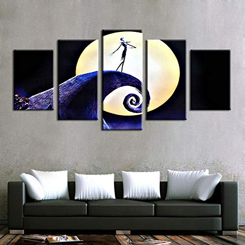Yyjyxd Canvas Paintings Wall Art Frame 5 Pieces Halloween Pictures Modular Prints Nightmare Before Christmas Poster Living Room Decor -12x16/24/32inch,with Frame]()