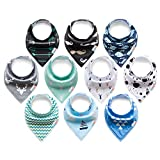 ALVABABY Baby Bandana Drool Bibs for Boys and Girls for Drooling and Teething 10 Pack Gift Sets 10SD06