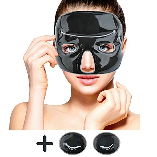 Cold Clay Facial Ice Mask by FOMI Care | Plus 2 Eye Compresses | Cooling Face Mask for Acne, Swollen Face, Puffy Eyes, Dark Circles, Headache, Migraine, Sinus Relief | ()