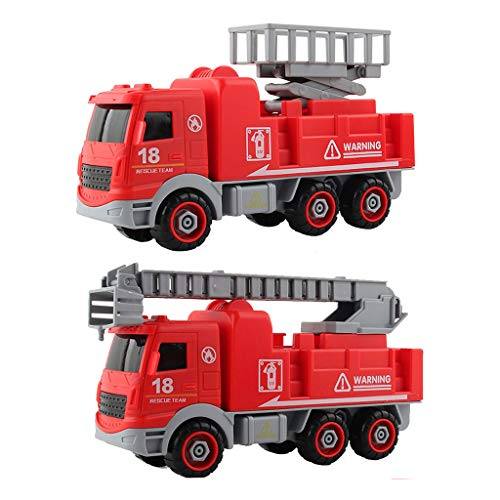 2Pack Fire Truck Toy DIY Detachable Friction Powered Fire Engine Truck with Lights and Sounds Rescue Boom, and Water Pump Hose to Shoot Water