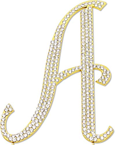 Sparkly Rhinestones Cake Topper - Gold Monogram Decoration for Wedding, Birthday & Anniversary Cakes (Letter A)]()