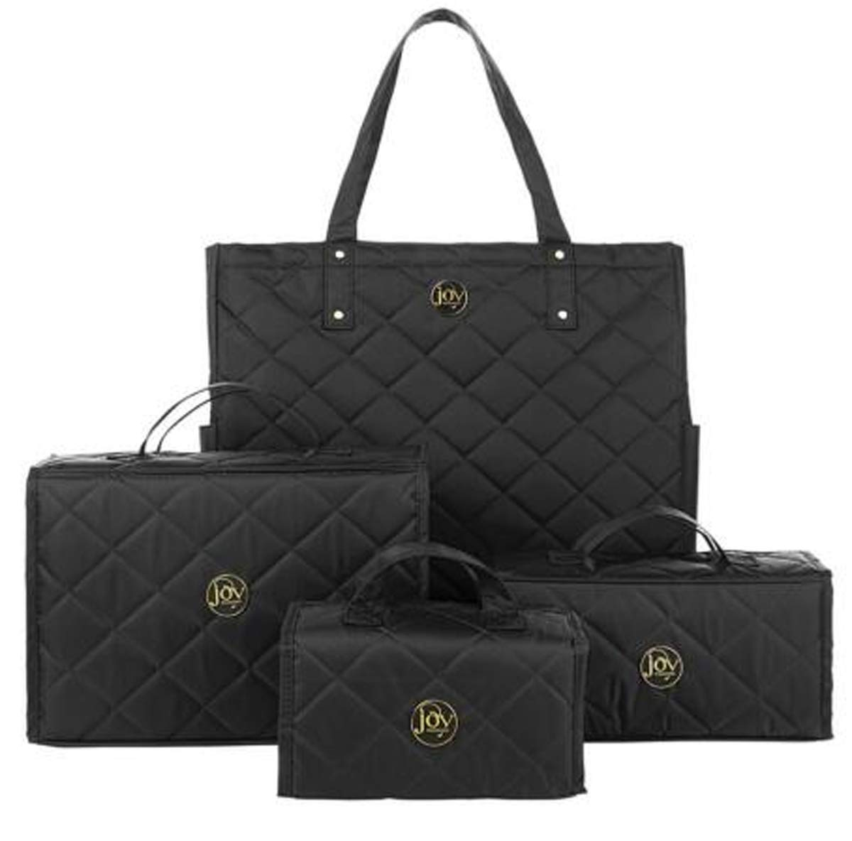 Joy Mangano 4-piece Quilted Better Beauty Case Set w/RFID Big Shopper Tote ~ Black