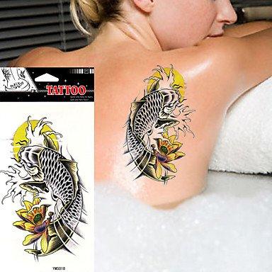 3fed747a7 Amazon.com: 5Pcs Body Art Beauty Makeup Japanese Flower Water Carp  Waterproof Temporary Tattoo Stickers: Sports & Outdoors
