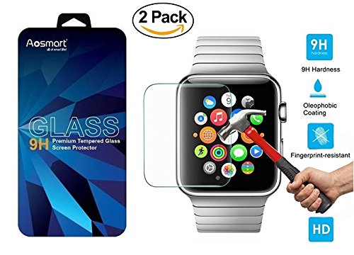 Amazingforless Anti-Scratch Tempered Glass Screen Protector for Apple Watch, (Pack of 2), 38mm