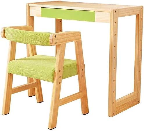 HEMFV Juego de Mesa y Silla para niños, Madera sólida, for niños de Altura Regulable Mesa y Juego de sillas, con cajones, Mesa de Aprendizaje for el Kinder, Pintura Tabla Juguete: Amazon.es: