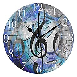 FunnyCustom Round Wall Clock Music Note Clef Space Acrylic Creative Decorative for Living Room/Kitchen/Bedroom/Family
