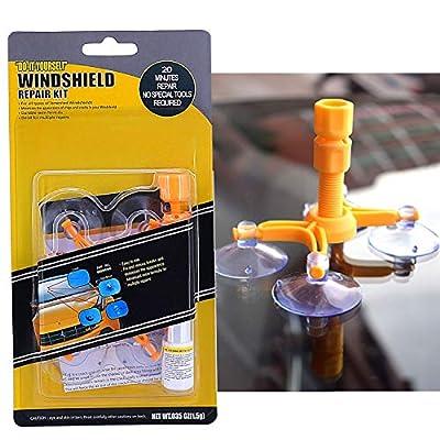 FILBAKE Car Windshield Repair Kit, DIY Car Windshield Repair Kit Quick Fix for Fix Windshield Auto Glass Chips/Cracks/Scratch/Nicks/Half-Moon/Bulls-Eye/Star-Shaped: Automotive