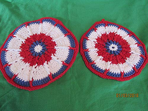 Holiday Handmade Crocheted Hot Pad and Potholder set. Blue Red and White